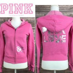 """PINK VS True Pink Love"""" Zip-Up Sparkle Hoodie"""